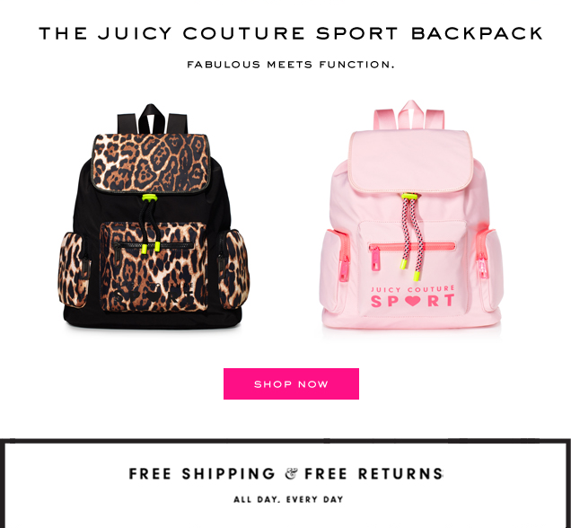 The Juicy Couture sport backpack. Fabulous meets function. SHOP NOW.