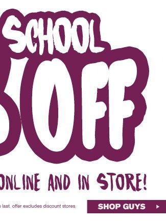 Shop Guys Back To School Sale