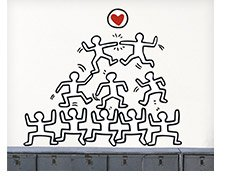 STACKED FIGURES WITH HEART By: Keith Haring