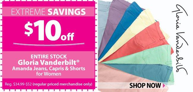 $10 off Gloria Vanderbilt Amanda Jeans, Capris & Shorts