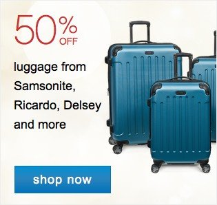 Luggage 50% off from Samsonite, Ricardo, Delsey and more. Shop now.
