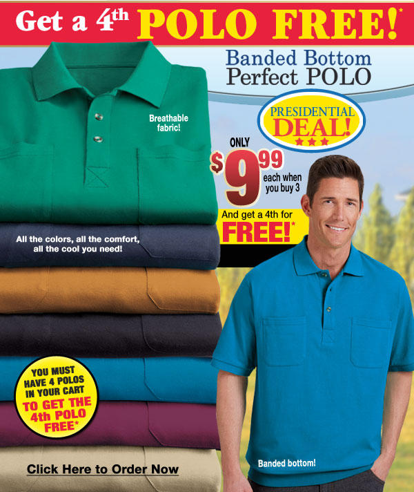 Banded Bottom Polo $9.99 each when you buy 3