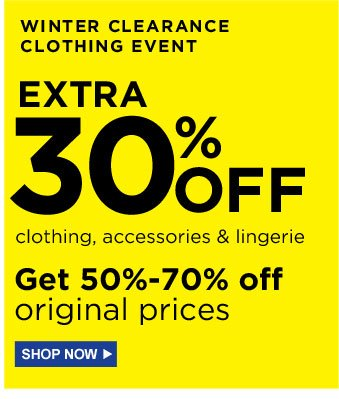 WINTER CLEARANCE CLOTHING EVENT | EXTRA 30% OFF clothing, accessories & lingerie - Get 50%-70% off original prices | SHOP NOW