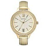 Caravelle 44L131 Womens Crystal New York Champagne Dial Gold Leather Band Watch