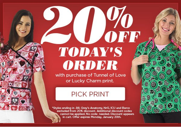20% OFF Today's Order with purchase of Tunnel of Love or Lucky Charm print - Pick Print