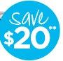 save $20**
