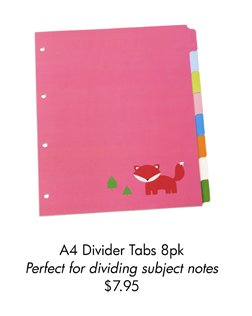 A4 Divider Tabs 8pk Perfect for dividing subject notes