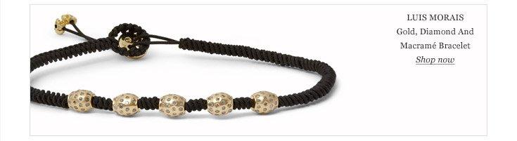Luis Morais Gold, Diamond and Macrame Bracelet