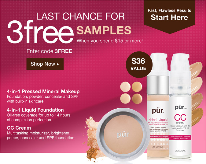 LAST CHANCE for 3 Free Samples when you spend $15 or more! Enter code 3FREE at checkout.