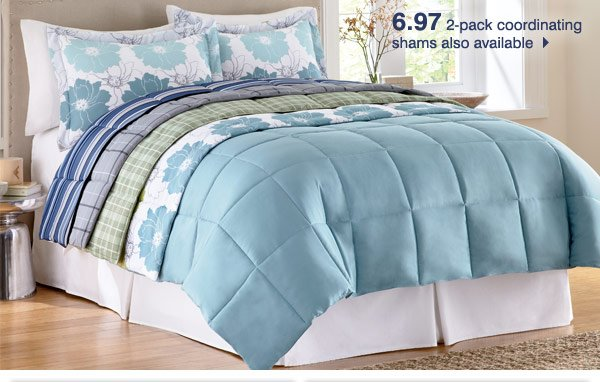 Refresh your home with our hottest Bonus Buys While supplies last. Bonus Buys priced so low, additional discounts do not apply.  Up to 70% off LivingQuarters cold weather sheet sets   19.97 twin/twin XL LivingQuarters microfiber down-alternative comforter  6.97 2-pack coordinating shams also available   24.97 standard Perfect Pillow by SleepBetter   18.97 Leisure Bayside 18� upright luggage  Also save on other sizes   39.97 queen or king LivingQuarters 4-pc. comforter sets  Shown: Corbin  Up to 40% off Irons and fabric steamers   Buy one, get one free Door County Coffee & Tea Co. single-serve K-Cups   49.97 after rebate Farberware dishwasher safe 12-pc. nonstick cookware set   29.97 Pfaltzgraff 53-pc. flatware set