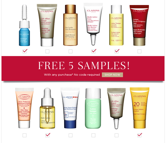 Free 5 Samples! With any purchase* No code required SHOP NOW