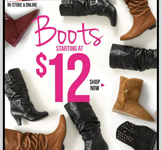MLK Sale Event - Boots starting at $12! In-Stores and Online - SHOP NOW!