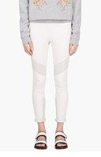IRO White leather & suede banded Zaina leggings for women