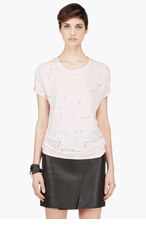 IRO Pale Pink linen shredded Clay t-shirt for women