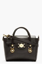 VERSACE Black Leather Medallion Shoulder Bag for women