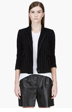 THEYSKENS' THEORY Black velvet-striped Cozy Iline jacket for women