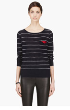 BAND OF OUTSIDERS Navy Striped Boatneck Sweater for women