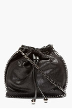 STELLA MCCARTNEY Black chain-trimmed shaggy deer bucket bag for women