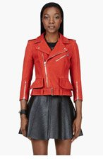 ALEXANDER MCQUEEN Vermillion red LEATHER & silk Biker JACKET for women