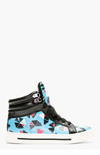 MARC BY MARC JACOBS Blue Leather Pinwheel Cute Kicks High-Top Sneakers for women