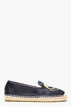 MARC BY MARC JACOBS Navy Satin Embroidered Mouse Espadrilles for women