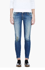 DSQUARED2 Blue Super Slim Desert Sand Wash Jeans for women