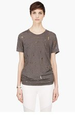 IRO Dark Grey Linen Shredded Clay T-shirt for women