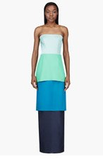 ROKSANDA ILINCIC Blue Colorblocked Tiered Bustier Gown for women