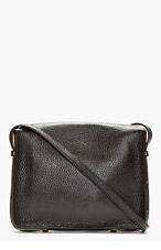 SOPHIE HULME Black leather Gold-trimmed Square Satchel Bag for women