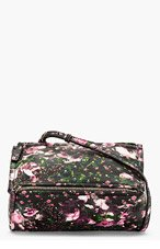GIVENCHY Black Leather Floral Mini Pandora bag for women