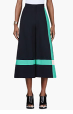 ROKSANDA ILINCIC Navy Cropped Wide-Leg Craven Trouser for women