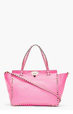 VALENTINO Fuchsia Leather Rockstud Medium Trapeze Tote for women