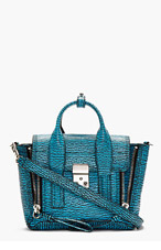 3.1 PHILLIP LIM Turquoise Textured Leather Pashli Mini Satchel for women