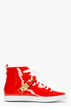 VERSACE Red Patent Leather High-Top Sneakers for women