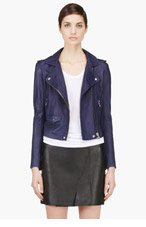 IRO Navy Washed Leather Minimalist Ashville Biker Jacket for women