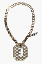 LANVIN Brass & Crystal Digit Necklace for women
