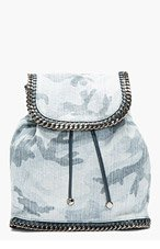 STELLA MCCARTNEY Pale blue chain-trimmed Camo Rucksack for women