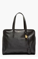 ALEXANDER MCQUEEN Black Leather Skull-Padlock Tote for women