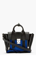 3.1 PHILLIP LIM Black & Cobalt Leather Combo Pashli Mini Satchel for women