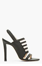 CHRISTOPHER KANE Black Matte Leather & Elastic Slingback Heels for women
