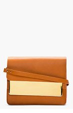 SOPHIE HULME Tan leather gold Tab Handbag for women