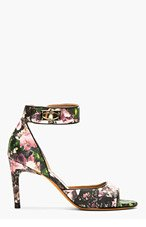 GIVENCHY Black Leather Floral Printed Sharklock heels for women