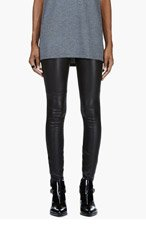 MAISON MARTIN MARGIELA Black Stretch Leather Panelled Leggings for women