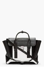 3.1 PHILLIP LIM Black & White Leather Combo Pashli Medium Satchel for women