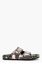 GIVENCHY Black Leather Floral Print Casual Sandals for women