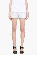 BAND OF OUTSIDERS White Denim Foral Print Cut Offs for women