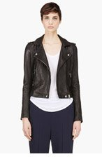 IRO Black Washed Leather Minimalist Ashville Biker Jacket for women
