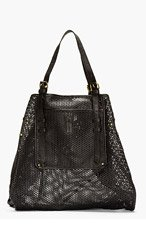 JEROME DREYFUSS Black Perforated Leather Pat Tote for women