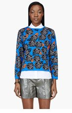 OSTWALD HELGASON Royal Blue & black floral Crewneck sweater for women