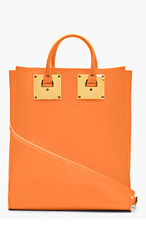 SOPHIE HULME Orange Structured Leather Tote Bag for women